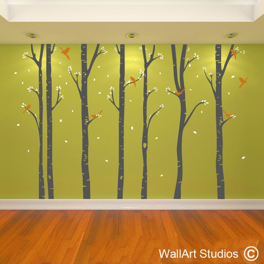 Old Fashioned Birch Trees Wall Art Ensign - Wall Art Collections ...