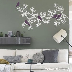 Whimsical Bird Branch Wall Art Decals, Custom, Corporate, Trees, Blossoms
