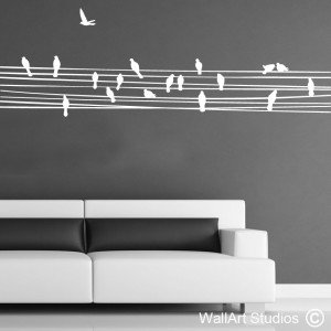 Birds on a Wire Wall Art Stickers, Custom, Trees, Corporate