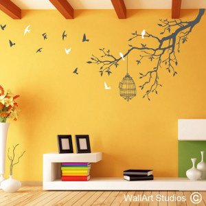 Freedom Branch Wall Art Decals, Custom, Stickers, Birds, Trees, Corporate