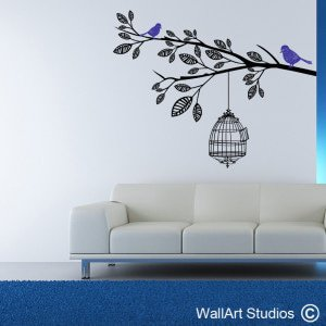 Vintage Bird Cage Wall Art Stickers, Branches, Custom, Trees, Corporate, Leaves