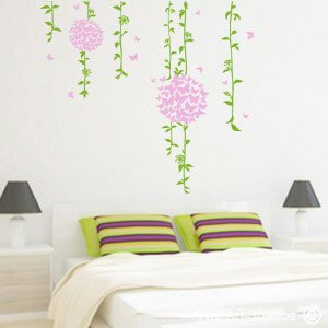 Butterfly Flowers Wall Art Decals, Custom, Trees, Hanging, Corporate