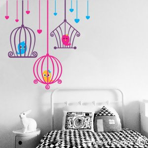 Love Bird Cages Wall Art Stickers, Custom, Corporate, Hearts