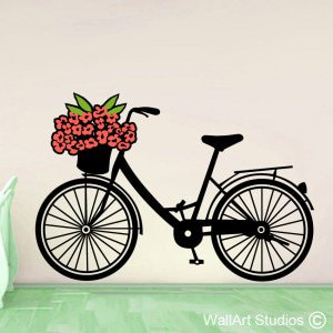Flower Bicycle Wall Art Stickers
