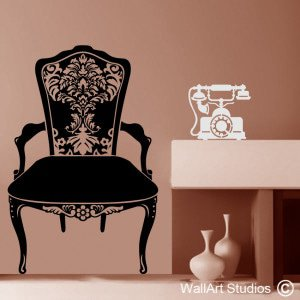 Vintage Chair & Telephone Wall Art Stickers
