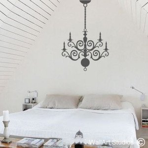 Wrought Iron Chandelier Wall Art Stickers