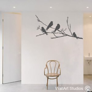 Birds on a Blossom Branch Wall Art Stickers, Corporate, Custom, Trees