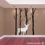 Birch Forest Stag Wall Art Vinyl
