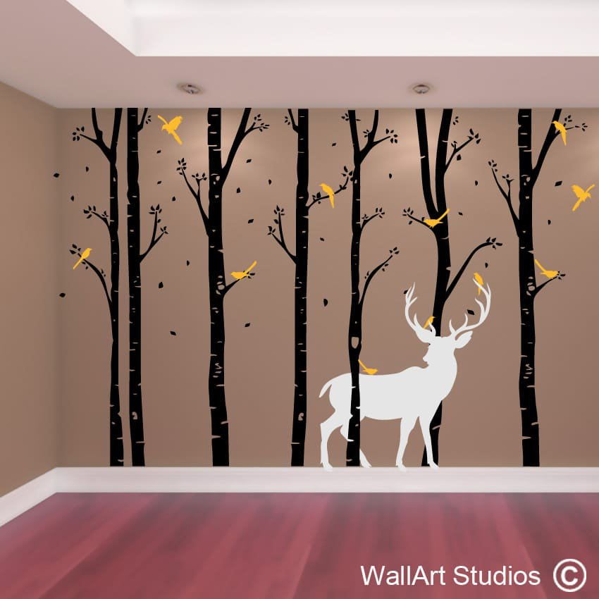 nouveau tree wall art vinyls wallart studios. Black Bedroom Furniture Sets. Home Design Ideas