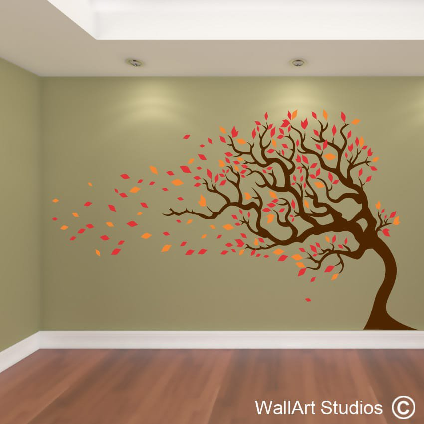 Tree Wall Art Simple Autumn Tree Wall Art Vinyl Wall Art Studios Uk  Decorating Design