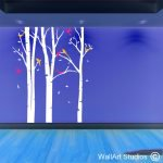 Winter forest with colourful birds, trees wall art stickers, wall art decals, vinyl stickers