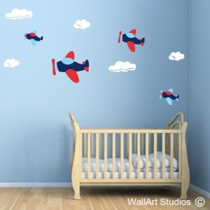 Planes & Clouds Wall Art Decals, Boys, Custom, Aeroplanes, Flying, Stickers
