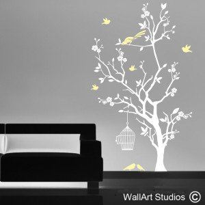 Bird Cage and Blossom Tree Wall Art Stickers