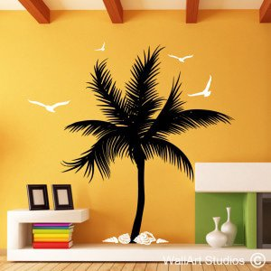 Palm Tree with Shells Wall Art Stickers