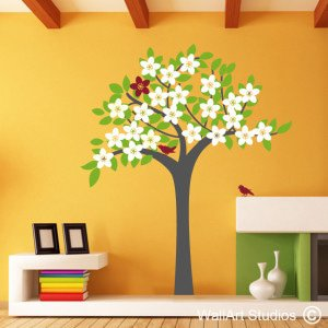Spring Tree Wall Art Decals, wall art stickers, birds, blossoms
