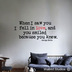 When I Saw You I Fell In Love Wall Art Stickers, Quotes, Hearts