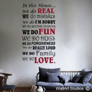 In This House - Script Wall Art Decals