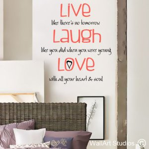 Live, Laugh, Love Wall Art Stickers, Custom, Quotes