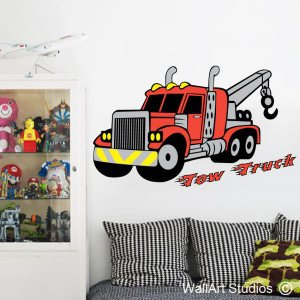 Tow Truck Wall Art Decals, Boys, Construction, Diggers, Custom, Stickers