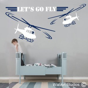 Let's Go Fly Wall Art Decals, Boys, Stickers, Planes, Helicopters, Flying, Corporate