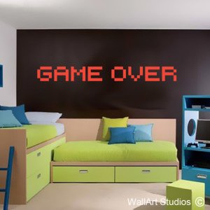 Game Over Wall Art Decals, Boys, Gaming, XBox, Playstation, Stickers, Custom, Corporate