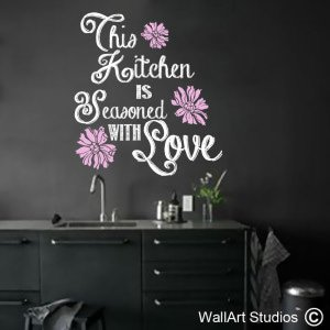 Kitchen Seasoned with Love Wall Art Decals, Hearts, Quotes