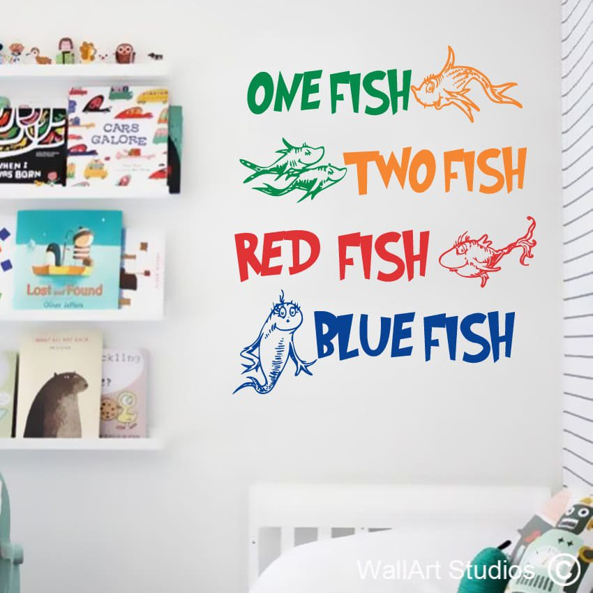 Dr Seuss One Fish Wall Art Stickers
