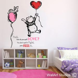 Piglet and Pooh Love Wall Art Stickers, Quotes, Hearts, Girls
