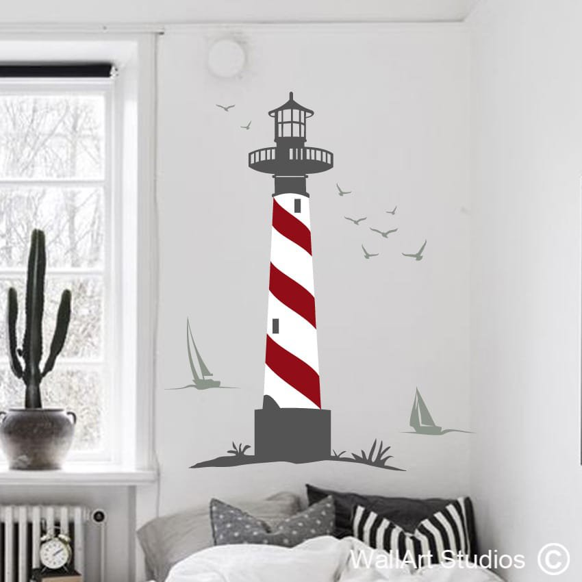 Lighthouse Seagulls Boats Wall Art Stickers