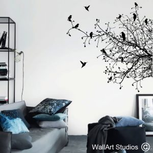 Birds on Branches Silhouette Wall Art Decals, Trees, Custom, Corporate