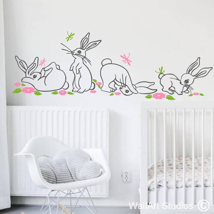 Bunnies dragonflies flowers wall art stickers