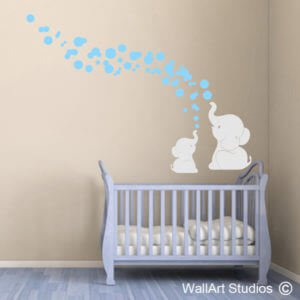Elephant Bubbles Wall Art Stickers