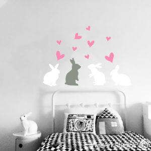 Bunnies & Hearts Wall Art Stickers