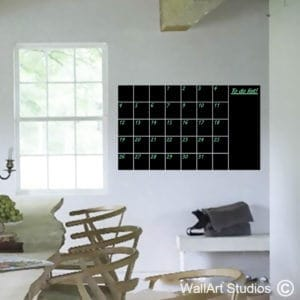 Chalkboard Monthly Planner Wall Art Decal