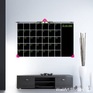 Chalkboard Decorative Monthly Planner Wall Art Decal