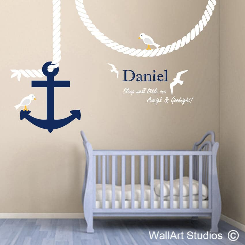 Anchor, Rope, Seagulls Wall Art Sticker