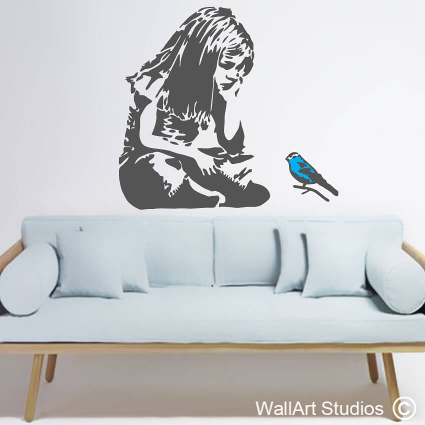 Banksy Blue Bird Little Girl Wall Art Decal