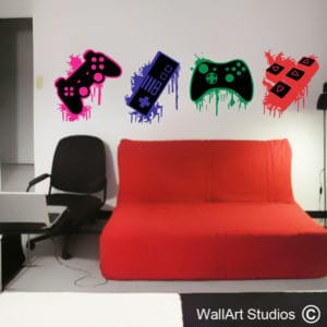 Game Controllers Splatter Wall Art Decal