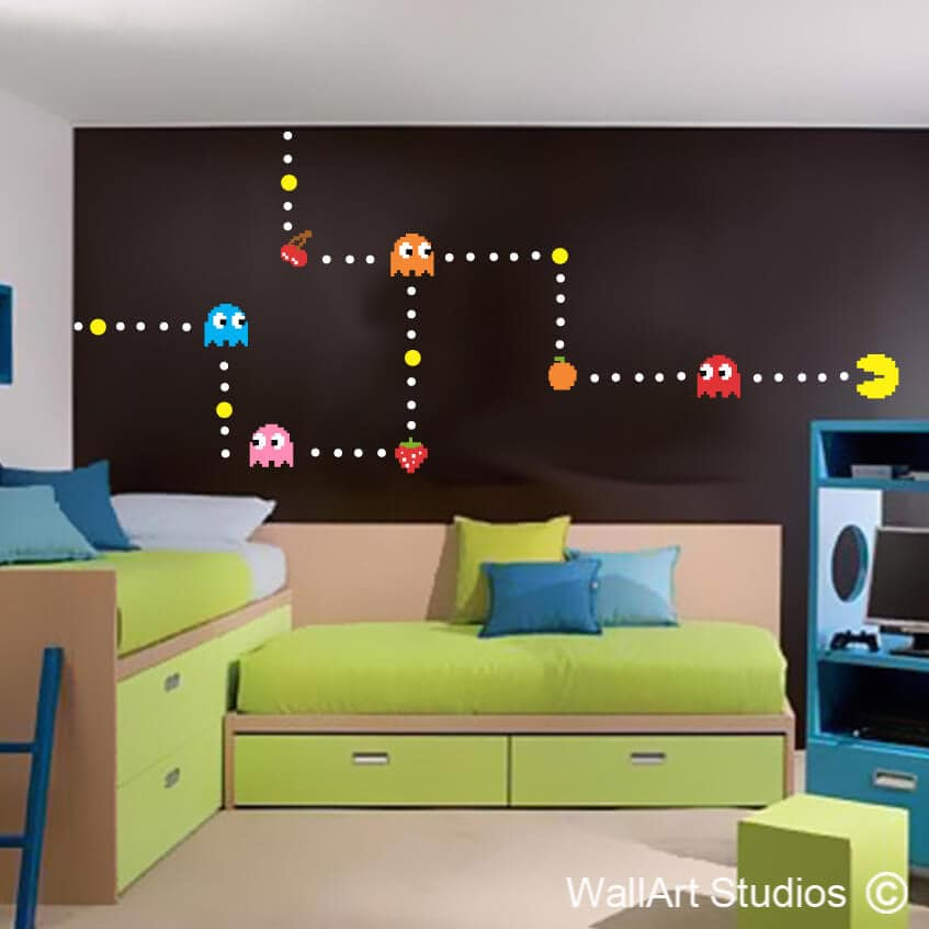Wall Art Decals For Living Room: Pacman Wall Art Decal