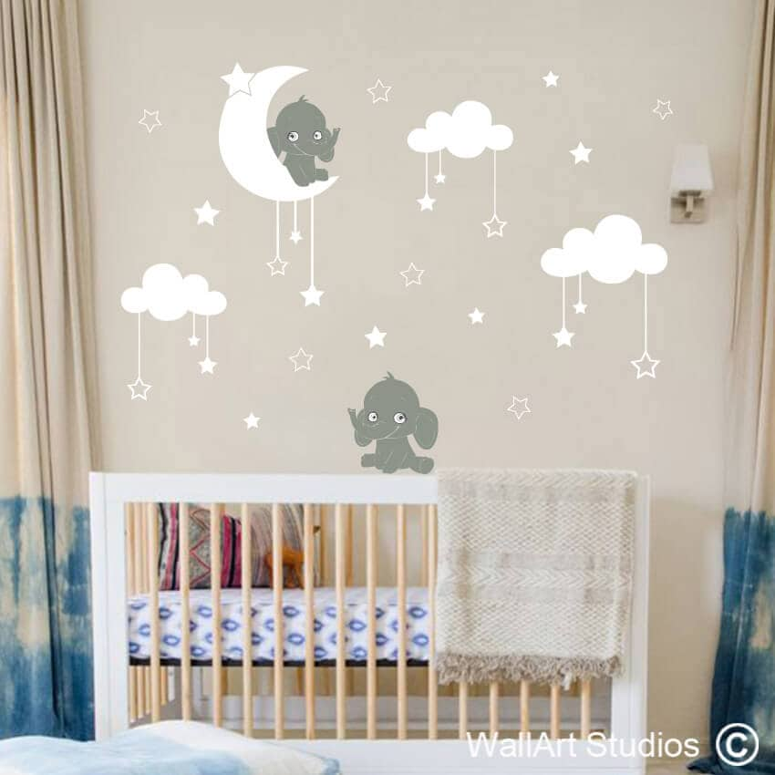 elephant moon & stars nursery wall sticker | wallart studios