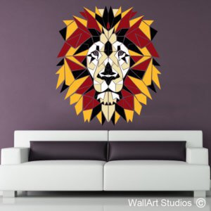 Lion Geometric Polyline Wall Sticker