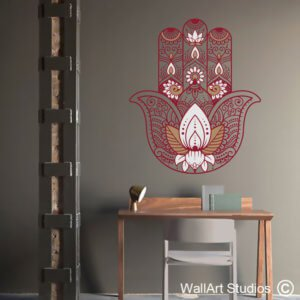 Hamsa Buddhist Lotus Hand Wall Sticker