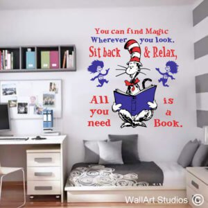 Dr Seuss You Can Find Magic Wall Sticker, cat in the hat, vinyl, removable, custom, wall tattoo