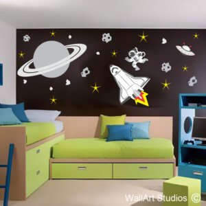 Space Shuttle, Saturn, Astronaut, Wall Decal, boys, rocket, outer space, removable, wall sticker, custom