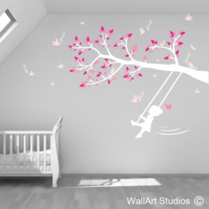 Little Girl Swinging on Tree Branch Wall Decal, girl, swing, tree, ropes, animals, forest, nursery, custom, removable, wall tattoo