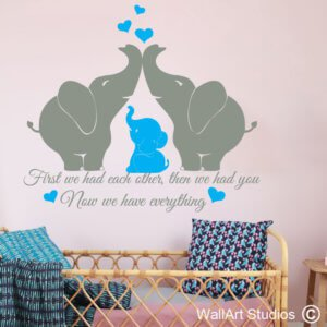 Elephants, Nursery, Wall Sticker, baby, family, removable, wall tattoo, custom