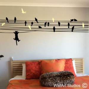 Cat Chasing Birds on a Wire Wall Decal, cats, birds, vinyl, removable, custom, decals, wall stickers