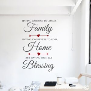 Family Home Blessing, Wall Decal, home, quotes, inspirational, removable, custom, wall tattoo