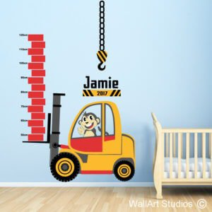 Forklift Construction Growth Chart Wall Decal