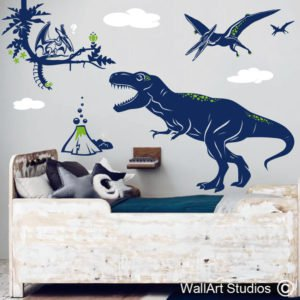 T-Rex Pterodactyl Dinosaur Wall Decal, pre-historic, boys, custom, T-Rex Pterodactyl Dinosaur Wall Decal, dinosaurs wall stickers, vinyl wall art, custom decals
